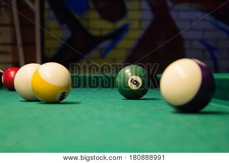 Billiard Balls On Green Table With Billiard Cue, Snooker, Pool Game. Copy Space