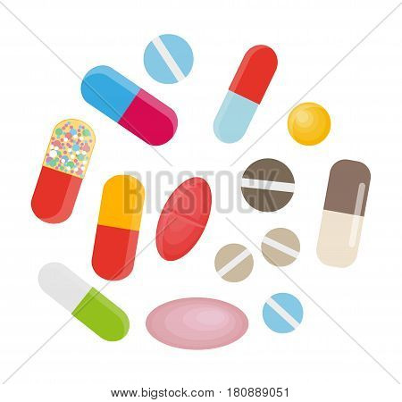 Colored pills and capsules lie in circle on white background. Cartoon medicines for different illnesses. Vitamines for good health condition. Medical treatment isolated vector illustration.