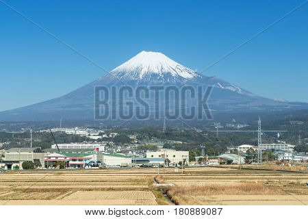 Mt Fuji With Rural Village And Field, Japan