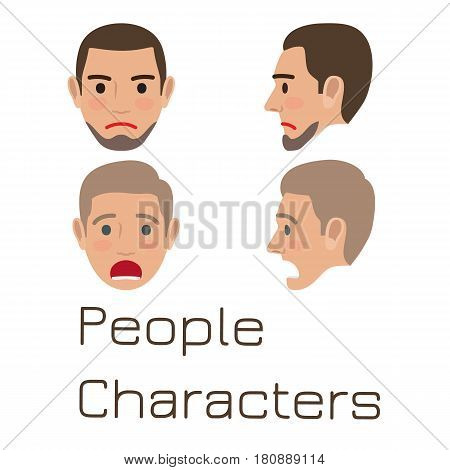 Man emotive faces collection. Male characters heads with emotions from full-face and profile view flat vector illustrations isolated on white background. Human positive and negative emotions set