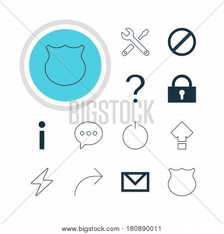 Vector Illustration Of 12 Member Icons. Editable Pack Of Help, Guard, Switch Off And Other Elements.