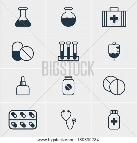 Vector Illustration Of 12 Medicine Icons. Editable Pack Of Medicine Jar, Aspirin, Medical Bag And Other Elements.