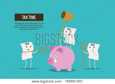 Tax bill hold hammer about to smash piggy bank. cartoon character. Tax burden abstract concept. thin line flat design. vector illustration