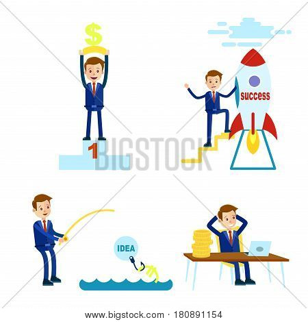 Cartoon businessman in blue suit and red tie in four different positions on pedestal, beside rocket, fishing and at table with coins isolated on white background vector illustration of careerist.