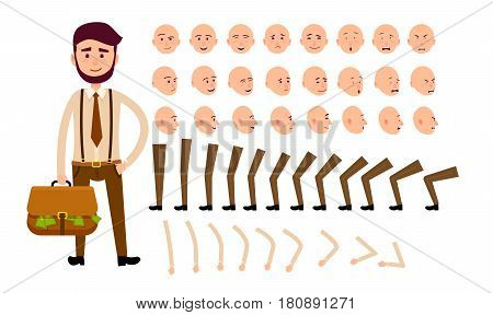 Cartoon man constructor includes legs, hands, original bold head and smiling face with different expressions. Vector illustration of businessman with bag full of money in brown tie and parts of body