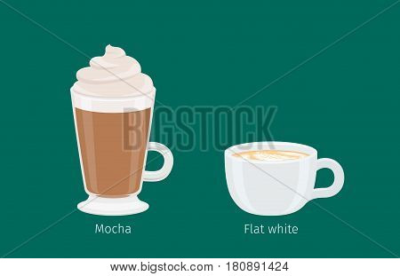 Mocha and Flat White coffee with foam in cups on emerald background with name text under each. Kinds of American and Australian coffee. Minimalist vector illustration for coffee shops and cafes.