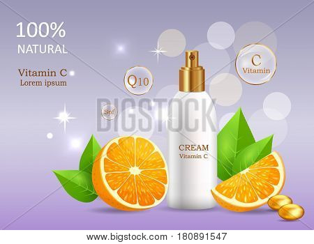 Natural cream enriched vitamins in glossy tube near sliced oranges, leaves and gold pebble vector banner. Cosmetic skincare product illustration on gradient background with sparkles and bokeh lights