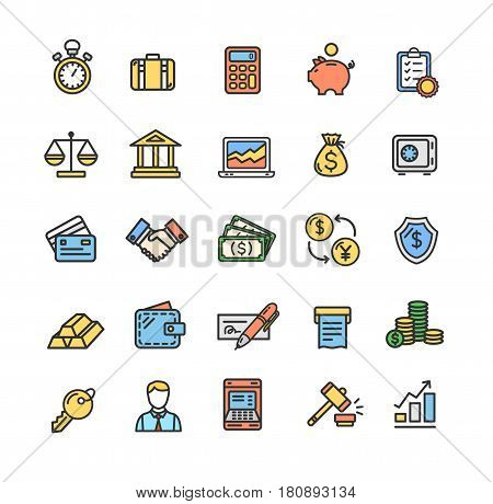 Banking and Accounting Icon Color Thin Line Set for Web and App Design. Vector illustration