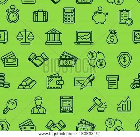 Banking Pattern Background on a Green Trendy Design for Business, Banks, Currency Exchange. Vector illustration