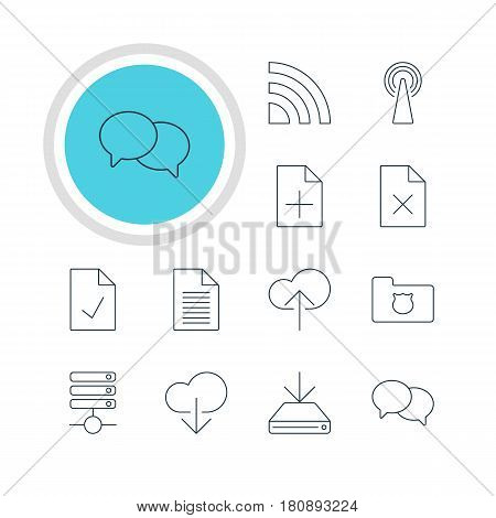 Vector Illustration Of 12 Internet Icons. Editable Pack Of Server, Note, Delete Data And Other Elements.