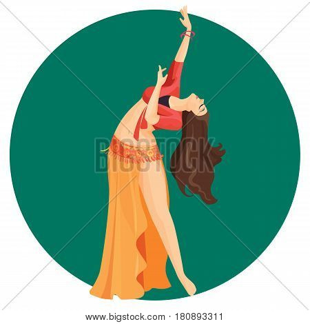 Belly dancer girl isolated on background. Professional long haired oriental woman dancing with open torso in long skirt with open leg. Vector illustration of asian performer with hands up
