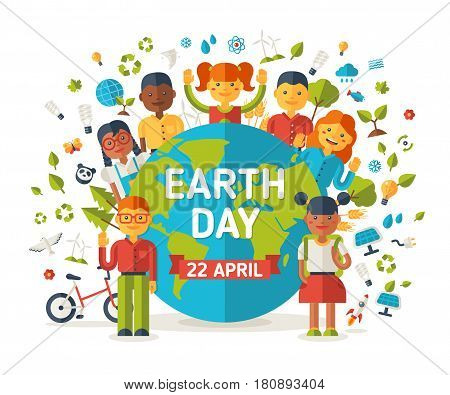 Boys and girls with Earth planet. Ecology and environmental protection icons. Earth day cute concept poster, go green. Vector illustration.
