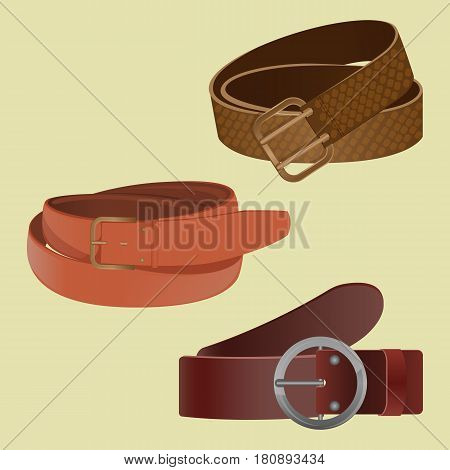 Set of leather waist belts isolated on white background. Modern unisex accessories collection with buckles of different shapes. Vector illustration of clothing objects with metal strap element