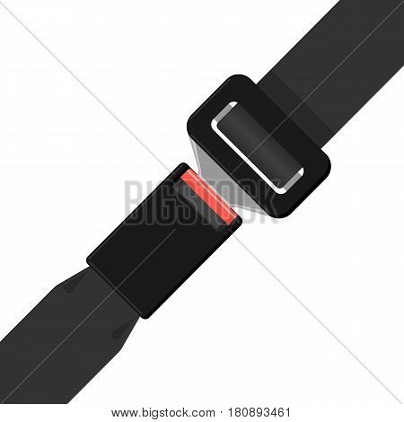 Safety black belt isolated on white background. Security seat protective belt with buckle vector illustration. Modern prevention accident accessory seatbelt. Fashionable waistband in realistic design