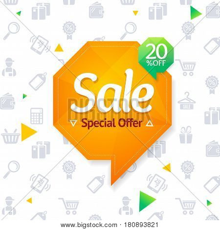 Sale Label Abstract Origami Bubble Speech and Background Special Offer for Your Business. Vector illustration
