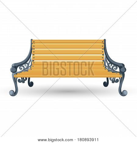 Wooden bench isolated on white background. Place for rest, outdoor piece of furniture vector illustration. Handmade bench with ornamental welded legs and planks made of wood