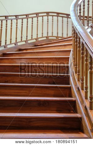 Building interior empty room design staircase wooden wooden handrails