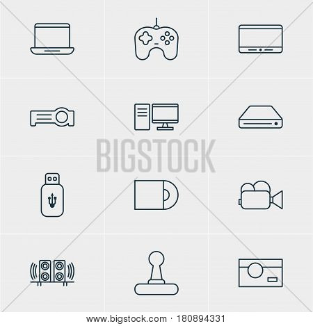 Vector Illustration Of 12 Accessory Icons. Editable Pack Of Photography, Dvd Drive, Game Controller And Other Elements.