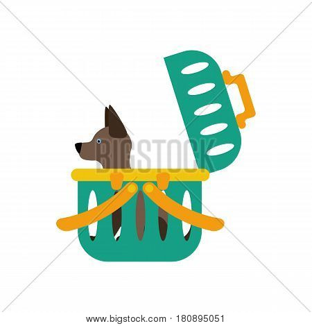 Dog carrier on the white background. Vector illustration