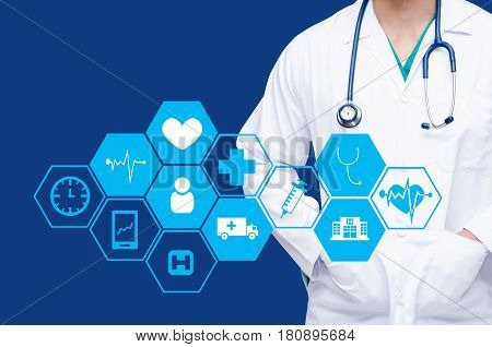 smart doctor with a stethoscope around his neck on color background and health care icon in hexagonal shaped pattern background health care and medical technology concept