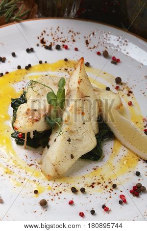 Seabass With Vegetables With Lemon And Sauce