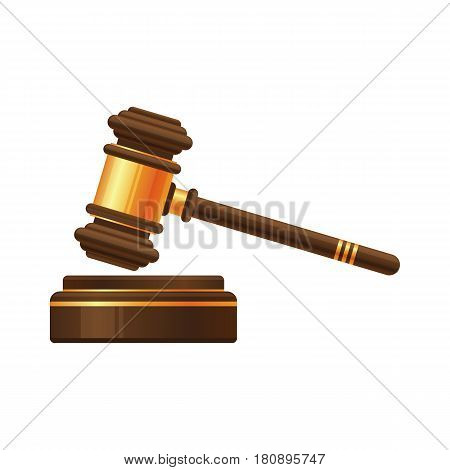 Wooden gold Judge gavel or auction hammer icon isolated on white background.