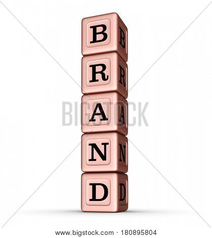 Brand Word Sign. Vertical Stack of Rose Gold Metallic Toy Blocks. 3D illustration isolated on white background.