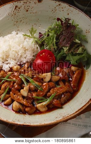 Rice With Mushrooms And Lettuce Leaves.