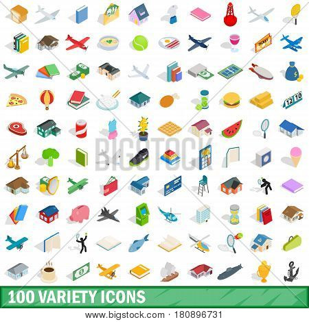 100 variety icons set in isometric 3d style for any design vector illustration