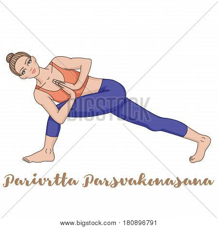 Women silhouette. Revolved Side Angle Yoga Pose. Parivrtta Parsvakonasana Vector illustration