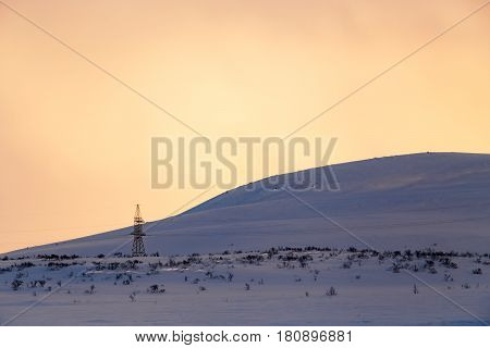 Road At Winter Tundra. Kola Peninsula, Russia