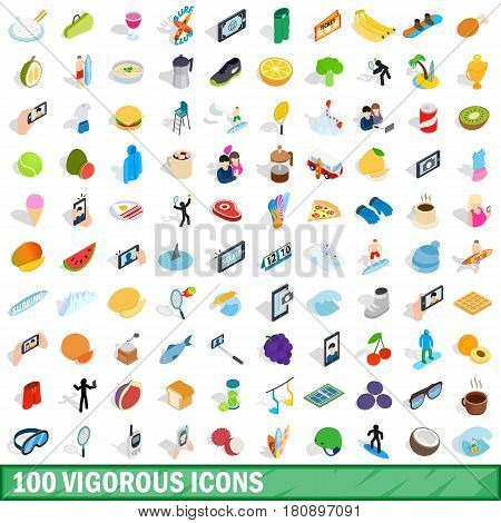 100 vigorous icons set in isometric 3d style for any design vector illustration