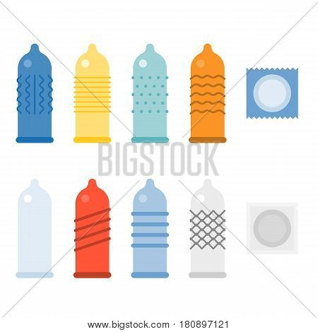 Condom collections icons set, different color of condom, flat design
