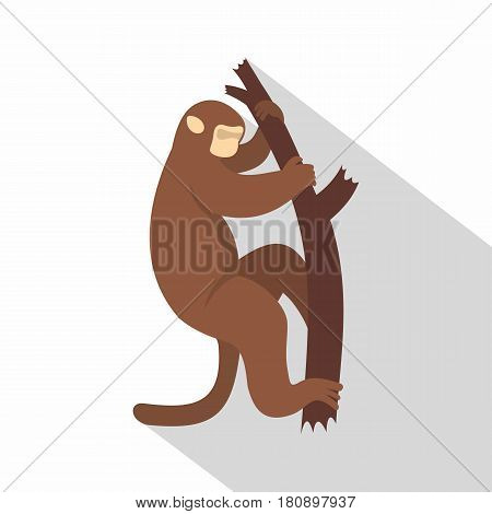 Macaque is climbing up on a tree icon. Flat illustration of macaque is climbing up on a tree vector icon for web
