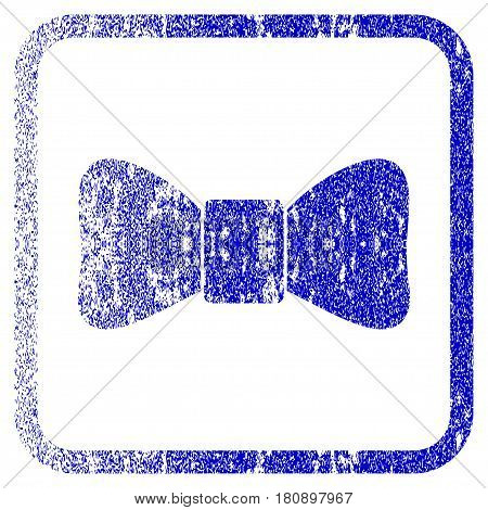Bow Tie textured icon for overlay watermark stamps. Blue vectorized texture. Flat vector symbol with unclean design inside rounded square frame. Framed blue rubber seal stamp imitation.