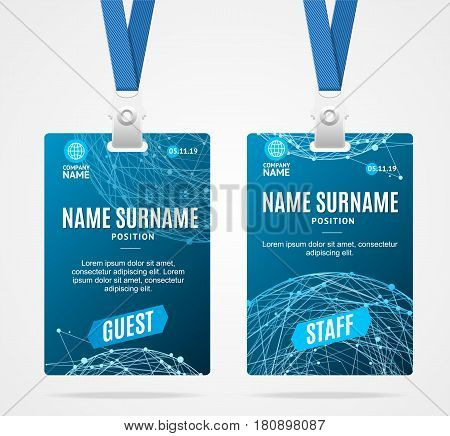 Id Card Template Plastic Badge with Blue Abstract Geometric Sphere. Vector illustration