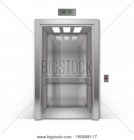Vector Realistic Open Chrome Metal Office Building Elevator Doors Isolated on Background