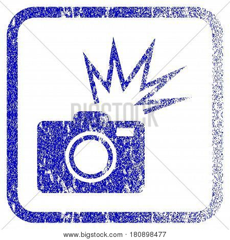 Camera Flash textured icon for overlay watermark stamps. Blue vectorized texture. Flat vector symbol with unclean design inside rounded square frame. Framed blue rubber seal stamp imitation.