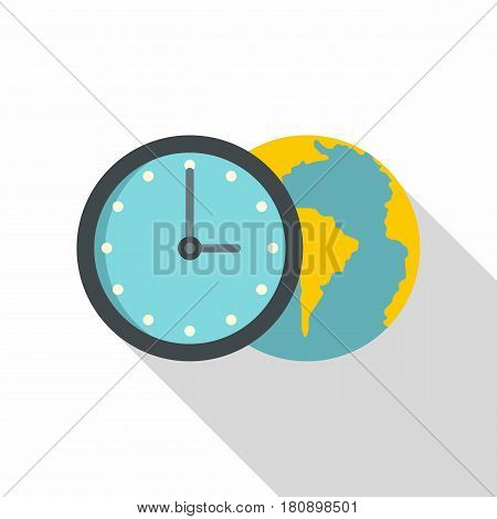 Globe and clock icon. Flat illustration of globe and clock vector icon for web