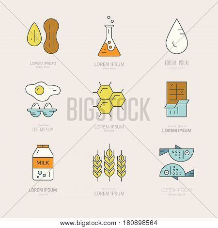 Logotypes and labels with symbols of different allergens. Product intolerance symbols for restaurants, farm markets and menu. Special diet illustration. Vector line style collection.