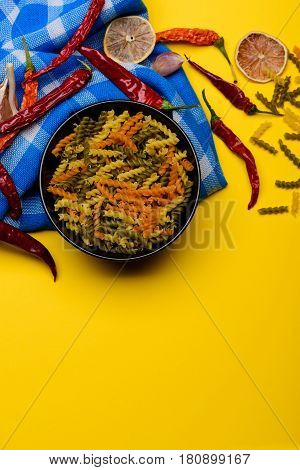 Colorful Fusilli Pasta With Red Chilly Peppers