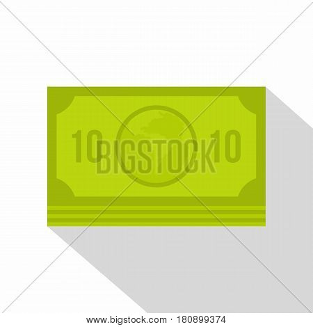 Green money banknote icon. Flat illustration of green money banknote vector icon for web