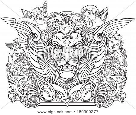 head of lion surrounded by little angels .Black and white outline decor