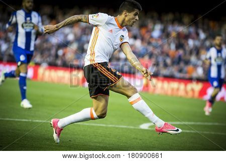 VALENCIA, SPAIN - APRIL 2: Joao Cancelo during La Liga match between Valencia CF and Deportivo at Mestalla Stadium on April 2, 2017 in Valencia, Spain