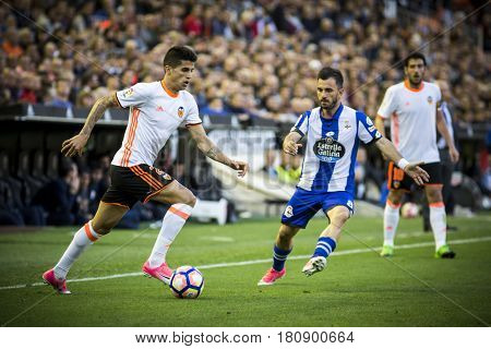 VALENCIA, SPAIN - APRIL 2:  Joao Cancelo with ball during La Liga match between Valencia CF and Deportivo at Mestalla Stadium on April 2, 2017 in Valencia, Spain