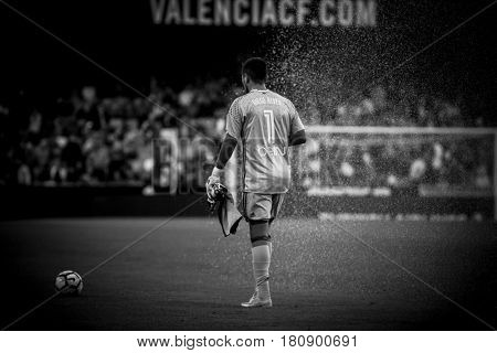 VALENCIA, SPAIN - APRIL 2: Diego Alves during La Liga match between Valencia CF and Deportivo at Mestalla Stadium on April 2, 2017 in Valencia, Spain