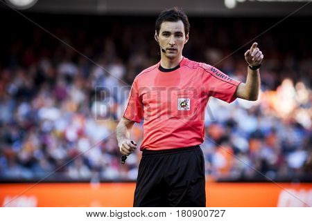 VALENCIA, SPAIN - APRIL 2: Referee during La Liga match between Valencia CF and Deportivo at Mestalla Stadium on April 2, 2017 in Valencia, Spain
