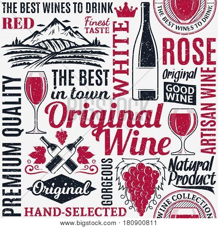 Retro Styled Typographic Vector Wine Seamless Pattern Or Background