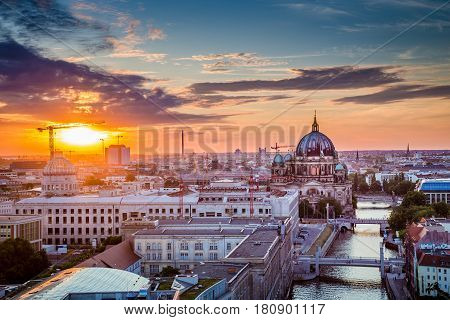 Berlin Rooftops View With Berlin Cathedral And Spree River At Sunset, Germany