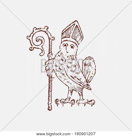 medieval element, decorative hand drawn illustration with old symbols of middle age, gothical ornament piece, engraved chimera owl with mace.